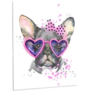 DesignArt 'Cute Dog w/ Pink Glasses' Painting Print on Metal; 28'' H x 12'' W x 1'' D