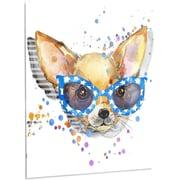 DesignArt 'Cute Puppy w/ Blue Glasses' Painting Print on Metal