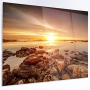 DesignArt 'Beautiful Sunset over Rocky Beach' Photographic Print on Metal; 12'' H x 28'' W x 1'' D