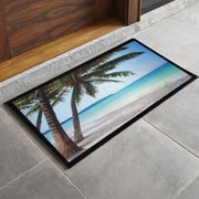 Home Fashion Design Bora Bora Palm Tree Printed Outdoor Welcome Door Mat