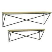 Three Hands Co. Wood w/ Metal Base 2 Piece Accent Shelf Set