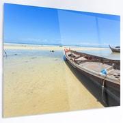 DesignArt 'Traditional Thai Boat on Beach' Photographic Print on Metal; 40'' H x 48'' W x 1'' D
