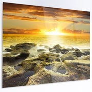 DesignArt 'Beautiful Orange Sundown Beach' Photographic Print on Metal; 12'' H x 28'' W x 1'' D