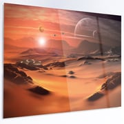 DesignArt 'Alien Planet 3D Rendered Computer Art' LED Photographic Print on Metal
