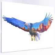 DesignArt 'Eagle Double Exposure Illustration' Graphic Art on Metal; 40'' H x 48'' W x 1'' D