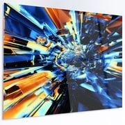 DesignArt 'Into the Center Blue Fractal Design' Graphic Art on Metal; 12'' H x 28'' W x 1'' D