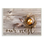 Stupell Industries 'Our Nest Golden Egg Distressed Wood' by Daphne Poselli Graphic Art