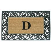 Creative Accents Rubber Coir Acanthus Monogrammed Door Mat; D