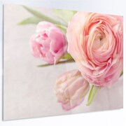 DesignArt 'Full Bloom and Blooming Flowers' LED Photographic Print on Metal