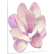 DesignArt 'Cute Light Pink Magnolia Flower' Painting Print on Metal; 28'' H x 12'' W x 1'' D
