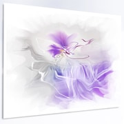 DesignArt 'Abstract Painted Blue Floral Design' Graphic Art on Metal; 12'' H x 28'' W x 1'' D