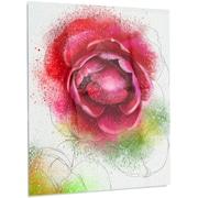 DesignArt Flower 'Large Blooming Red Rose on White' Painting Print on Metal