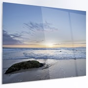 DesignArt 'Beautiful Rocky Seashore in Blue' Photographic Print on Metal; 12'' H x 28'' W x 1'' D