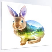 DesignArt 'Rabbit Double Exposure Illustration' Graphic Art on Metal; 12'' H x 28'' W x 1'' D