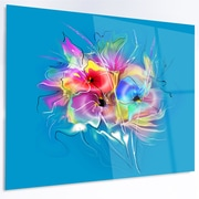 DesignArt 'Summer Colorful Flowers on Blue' Graphic Art on Metal; 12'' H x 28'' W x 1'' D