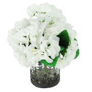 LCGFlorals River Rocks and Hydrangea's Floral Arrangements in Decorative Vase; White