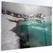 DesignArt 'Lake w/ Icy Topped Mountains' Photographic Print on Metal; 12'' H x 28'' W x 1'' D