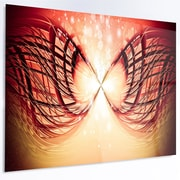 DesignArt 'Bright Light on Red Fractal Design' Graphic Art on Metal; 12'' H x 28'' W x 1'' D