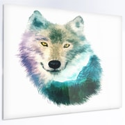 DesignArt 'Wolf Head Double Exposure Drawing' Graphic Art on Metal; 12'' H x 28'' W x 1'' D