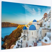 DesignArt 'Beautiful Santorin Houses Greece' Photographic Print on Metal; 12'' H x 28'' W x 1'' D