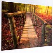DesignArt 'Beautiful Footbridge in Golden Light' LED Photographic Print on Metal