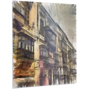 DesignArt 'Old City Street Watercolor Painting' Painting Print on Metal; 48'' H x 40'' W x 1'' D