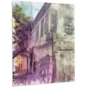 DesignArt 'Old City Street Watercolor' Painting Print on Metal; 48'' H x 30'' W x 1'' D