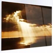 DesignArt 'Dramatic Sunset w/ Sunrays' LED Graphic Art on Metal