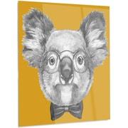 DesignArt 'Koala w/ Glasses and Bow Tie' Graphic Art on Metal; 48'' H x 40'' W x 1'' D