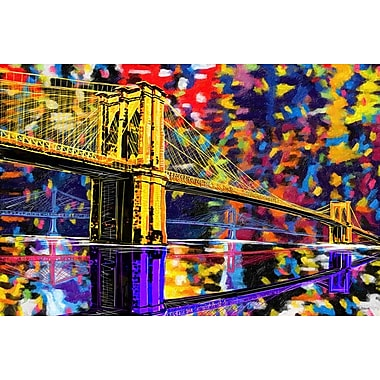 Maxwell Dickson ''Brooklyn Bridge'' Graphic Art on Canvas; 40'' H x 60'' W