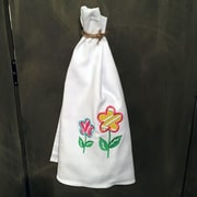 Samantha Grace Designs Egyptian Quality Cotton Huck Towel w/ Spring Flowers Applique Hand Towel