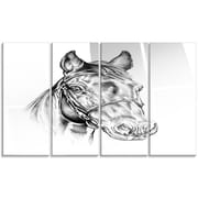 DesignArt 'Freehand Horse Head Pencil Drawing' 4 Piece Graphic Art on Canvas Set