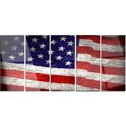 DesignArt 'Large American Flag Watercolor' 5 Piece Photographic Print on Canvas Set