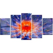 DesignArt 'Colorful Glowing Flower in Space' 5 Piece Graphic Art on Canvas Set