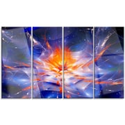 DesignArt 'Colorful Glowing Space Flower Fractal' 4 Piece Graphic Art on Canvas Set