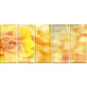 DesignArt 'Beautiful Floral Yellow Background' 5 Piece Photographic Print on Canvas Set