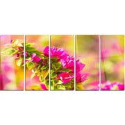 DesignArt 'Beautiful Pink Bougainvillea Flowers' 5 Piece Photographic Print on Canvas Set