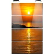 DesignArt 'Beautiful Sunrise Reflecting in River' 4 Piece Photographic Print on Canvas Set