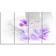 DesignArt 'Abstract Painted Blue Floral Design' 4 Piece Painting Print on Canvas Set