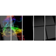 DesignArt 'Colorful Abstract Smoke Waves' 5 Piece Graphic Art on Canvas Set