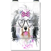 DesignArt 'Cute Dog w/ Heart Glasses' 4 Piece Graphic Art on Canvas Set