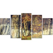 DesignArt 'Colorful and Serene Autumn Forest' 5 Piece Photographic Print on Canvas Set