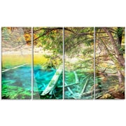 DesignArt 'Colorful Lake w/ Tree Trunks' 4 Piece Photographic Print on Canvas Set
