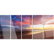 DesignArt 'Colored Clouds in Beach at Sunset' 5 Piece Photographic Print on Canvas Set