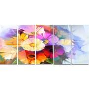 DesignArt 'Colored Gerbera Flowers Bouquet' 5 Piece Painting Print on Canvas Set