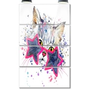 DesignArt 'Cute Kitten w/ Blue Stars' 4 Piece Graphic Art on Canvas Set