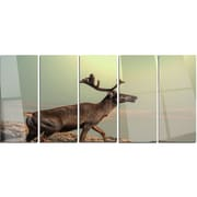 DesignArt 'Reindeer on Top of the Mountain' 5 Piece Photographic Print on Canvas Set