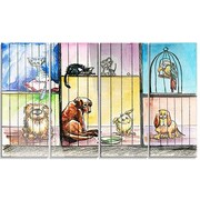 DesignArt 'Sad Animals in the Pound' 4 Piece Painting Print on Canvas Set