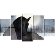 DesignArt 'Black Horse in Moonlight' 5 Piece Photographic Print on Canvas Set