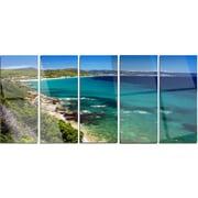 DesignArt 'Beautiful Greek Beach of Sea' 5 Piece Photographic Print on Canvas Set